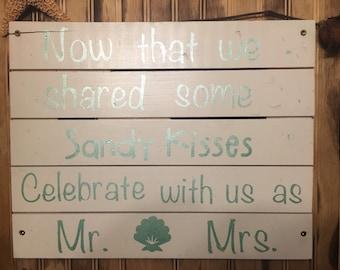 Beach theme wedding sign