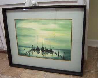 Framed Coastal Watercolor Picture from the 1970's.  Signed by artist M. Thorn. Beach Inspired.  Boats at the Dock. Coastal Theme Watercolor.