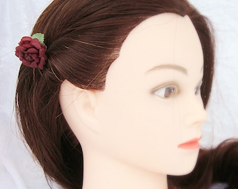 Burgundy Rose Hair Grip