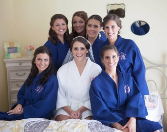 Bridesmaid Robes Set of 6 Monogrammed Kimono Waffle Weave Robes for Wedding Party Bridesmaids Robes Gifts Bridal Gifts Monogram