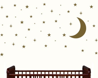 Moon and Stars Nursery Decor - Gold stars and moon decals - Wall decal for nursery