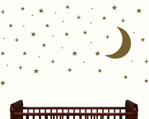 moon and stars nursery decor gold stars and moon decals. Black Bedroom Furniture Sets. Home Design Ideas