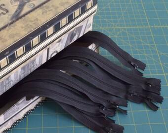 """Zipper #3 black 14"""" 36 cm bottom closed nylon Package 10 Bulk"""