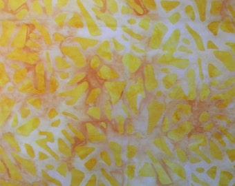 "Furoshiki Bag, Japanese Wrapping Cloth, Rust and Yellow Petals Batik, 35"" Square Hemmed Edges"