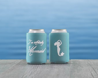 I'm Actually a Mermaid Can Cooler, Nautical Cozie, Nautical Gifts, Boat Gifts