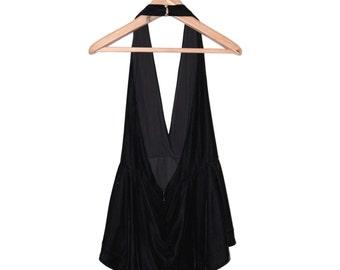 Backless Halter Neck Black Velvet Deep V Revealing Party Top - Small