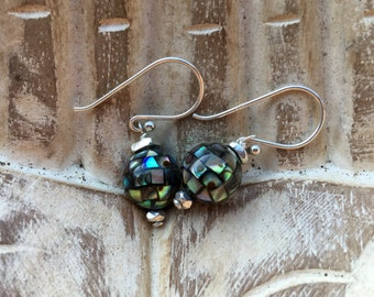Abalone, Paua Shell, Sterling Silver, Earrings, Hill Tribe Silver Earrings, gifts for her, NZ gifts