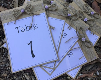 Table Numbers on wooden easels