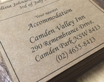 Accommodation cards x80