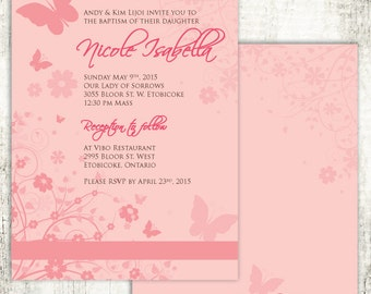 Pink BUTTERFLY BAPTISM Christening Confirmation Religious Invitation // Pink flowers // Cross // Baby Girl // PRINTED Invites