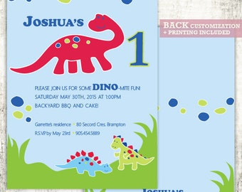 DINOSAUR Invitation // Birthday Party Invite // DINO// First Birthday Party // PRINTED Invites