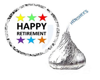 Happy Retirement Party Favor Hershey's Kisses Stickers / Labels -216ct