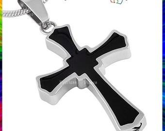 Urn Necklace Cremation Memorial Keepsake Stainless Steel Urn Pendant Classic Black Cross #16