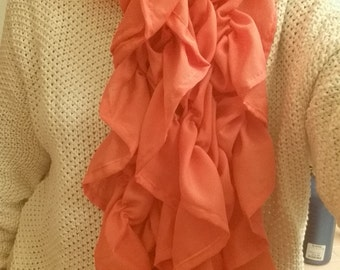 Sheet Coral Scarf with Ruffled