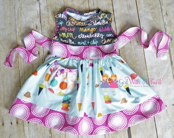 Girls Ice Cream Dress, Summer Dress, Baby Girl Dresses, Toddler Dress, Twirl Dress, Knit Dress, Boutique Outfit, Beach Dress, Spring Dress