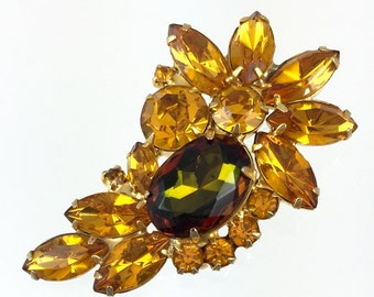 Juliana Golden Yellow Topaz Volcano Rhinestone Brooch - Vintage 1960s Delizza Elster Orange Crescent Brooch PN6