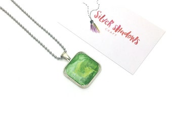 Green watercolour small glass tile necklace