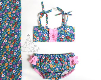 FREE SHIPPING - Made to order Baby swimsuit Secret Garden - Baby bathing suit 6m 12m 18m 24m 3T 4T 5T 6T - Swimwear - Baby girl swimsuit