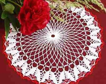 Doily lace, red and white, 34 cm. , 100% cotton