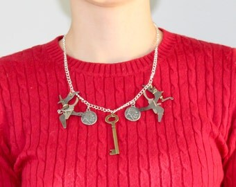 Brass Key Typewriter Necklace