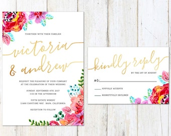 Gold and Floral Wedding Invitation, Watercolor Wedding Invitation, Fun Bright Wedding Invite