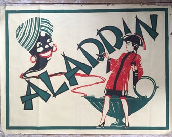 Vintage Art deco theatre poster advertising Aladdin and the Genie
