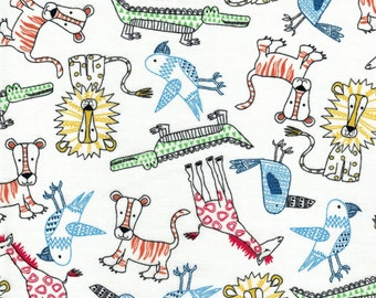 Zoo Animals on a white background- Urban Zoo Collection- Galaxy Fabrics - 100% Cotton Quilting Fabric
