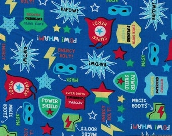Blue Superhero Fabric- 100% Cotton Designer Fabric-Timeless Treasures