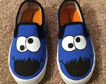 Hand-painted Cookie Monster inspired shoes