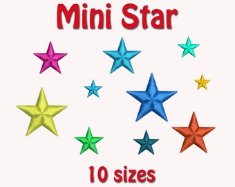 Mini Star Machine Embroidery Design, 10 Sizes Mini Stars,  DIGITAL INSTANT DOWNLOAD 104