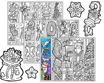 christmas coloring advent calendar printable christmas coloring pages ornament countdown craft - Hippie Coloring Book