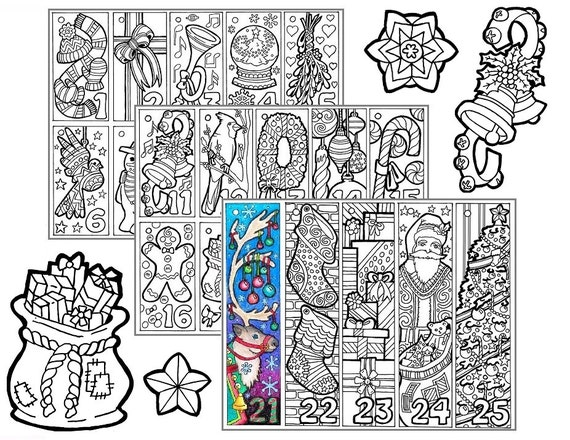 Christmas coloring advent calendar printable christmas for Free advent calendar coloring pages