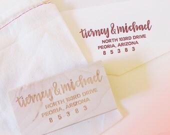 Custom Rubber Address Stamp // Hand-lettered design, perfect for return envelopes, engagement or wedding gifts