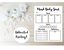 Fitness Planner - Health and Wellness - Printable Menu Planner - Food Journal - Health and Fitness Planner - Food Diary - Fitness Journal
