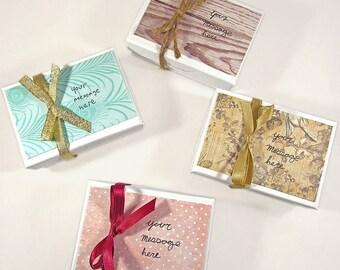 Gift box with custom handwritten card