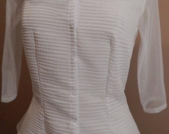 White button down shirt / White shirt / White blouse / Sz: S
