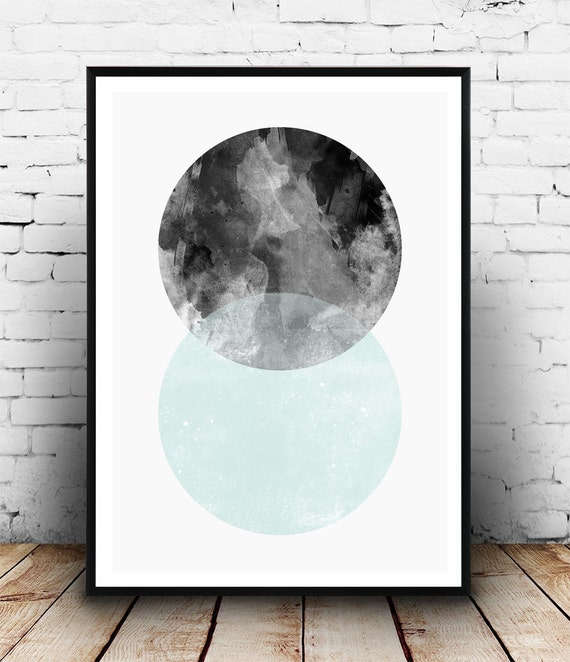 Watercolor print scandinavian design minimalist art modern