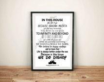 Disney (A) - In This House... We Do Disney (Black on White)