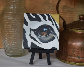 Eye of the Grasslands// Zebra Eye// Original Painting// Mini Painting// 4x4 Acrylic Painting// Dark Horse Leather Creations