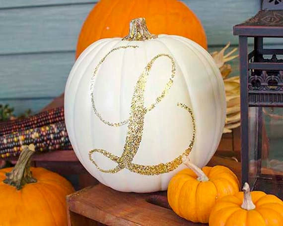 Glitter Gold White Pumpkin, Gold Glitter Monogram Pumpkin, White Pumpkin Decor, Gold Pumpkin Letter