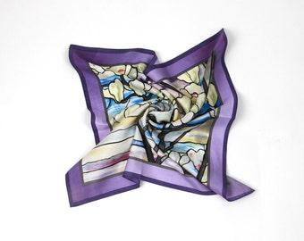 100% Silk Magnolia pattern Neckerchief  Bandana Small scarf Petite scarf