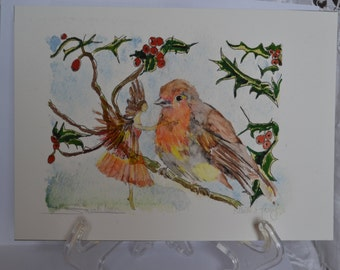 Robin with Fairy in frost
