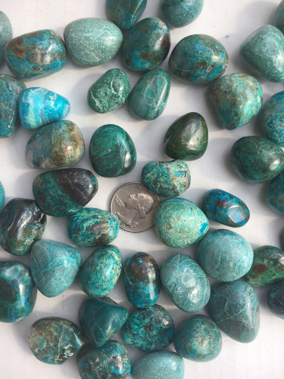 Beautiful Tumbled CHRYSOCOLLA Healing Gemstone// Chrysocolla// Tumbled Stones// Tumbled Chrysocolla// Healing Crystals// From the Congo