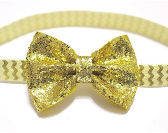 Gold Glitter Hairbow- Gold Sparkle Baby- Toddler- Girl Bow Headband