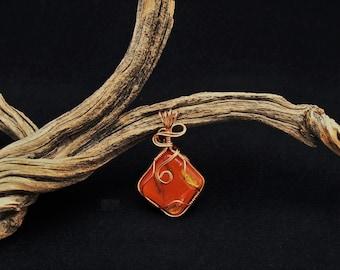 Copper Wire Wrapped Orange Dichroic Glass,