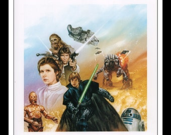 "Vintage Print Ad 1990s : Star Wars Dave Dorman Illustration - Han Solo / Princess Leia / Luke Skywalker Wall Art Decor 8.5"" x 11"" Book Print"