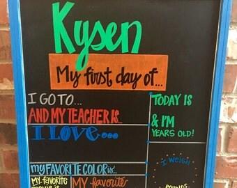 Back to School chalkboard, reusable, use year after year, first day of school chalkboard