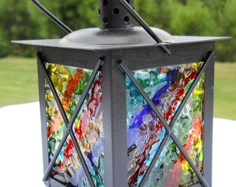Fused Glass Votive Candle Lantern
