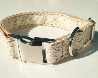 Beautiful Vintage Inspired Lace Dog Collar, Metal Snap Lock Buckle for Exta Class, Adjustable,Made in Australia