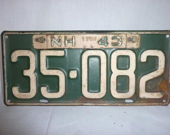 Vintage 1942 New Hampshire License Plate WWII